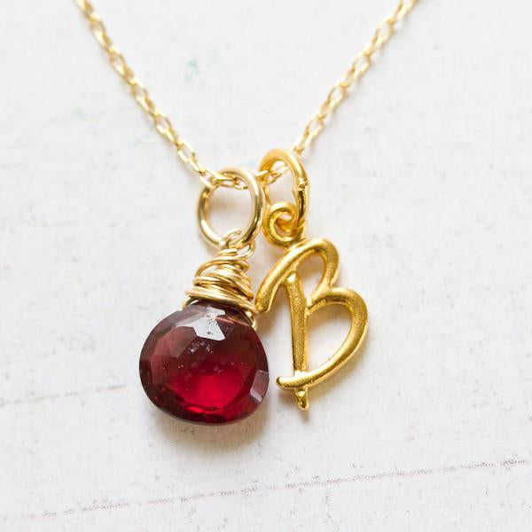 Gold Wire Wrapped Birthstone Charm by Wallin + Buerkle