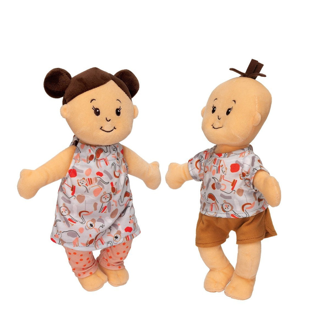Wee Baby Stella Twins - Peach with Brown Hair by Manhattan Toys