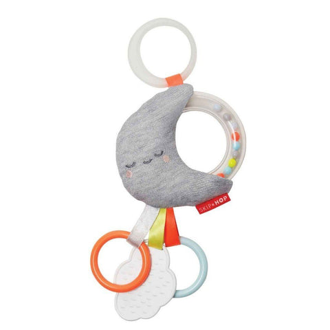 Silver Lining Rattle Moon Stroller Toy by Skip Hop - Pacifier