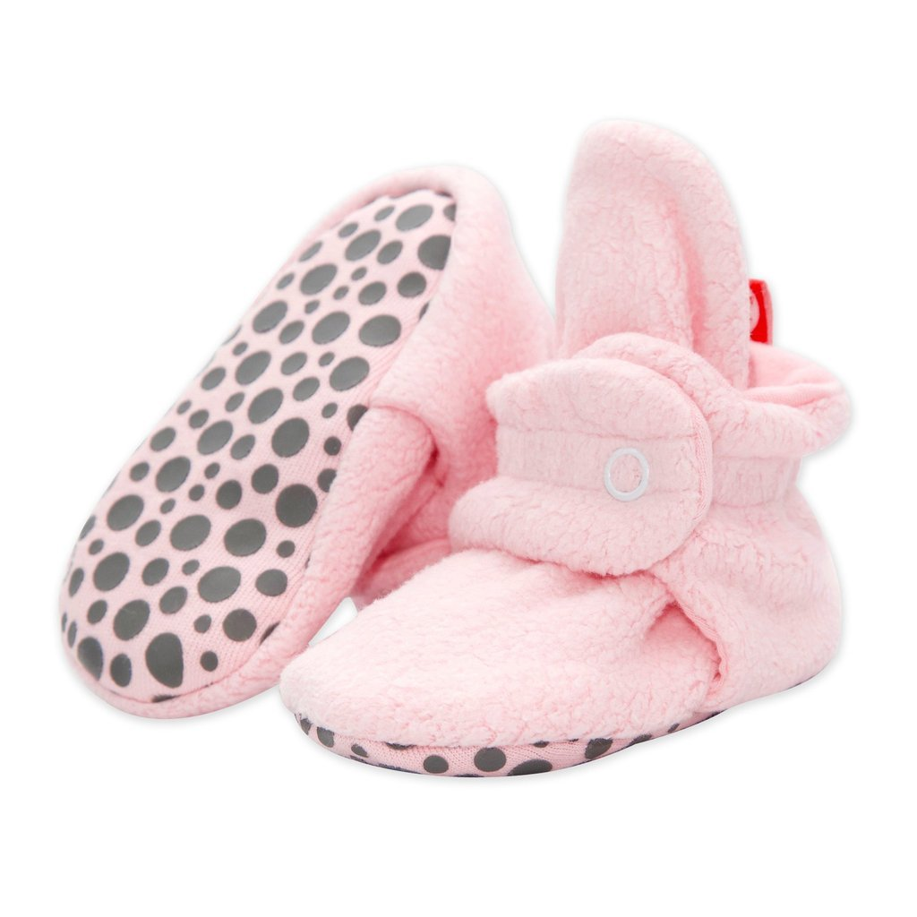 Cozie Fleece Gripper Booties - Baby Pink by Zutano Zutano Shoes