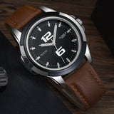Men's Quartz Casual Watch With Leather Band