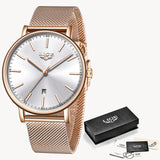 2019 Classic Women Rose Gold Top Brand Luxury Laides Dress Business Fashion Casual Waterproof Watches Quartz Calendar Wristwatch
