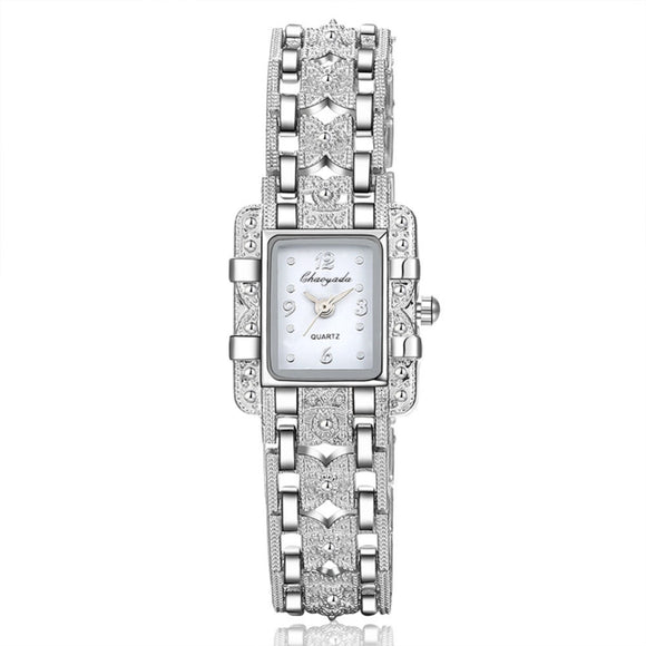 Silver Quartz Wrist Watch For Women