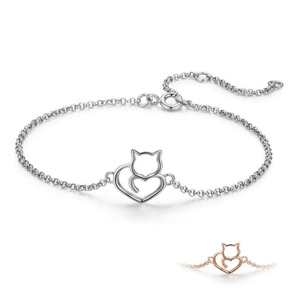Kitty cat heart bracelet, sterling silver, rose gold