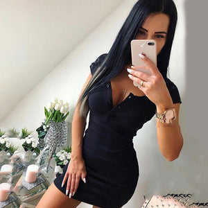 Bigsweety Summer Fashion Mini Dresses Women Sexy o-neck Knit Sheath Dress Button Short-Sleeve bodycon Vestidos Women Clothing