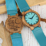 DIY Customized Logo Wood Watch Women Creative Engraved Retro Wooden with Blue Genuine Leather Souvenir Gifts for Girl Girlfriend