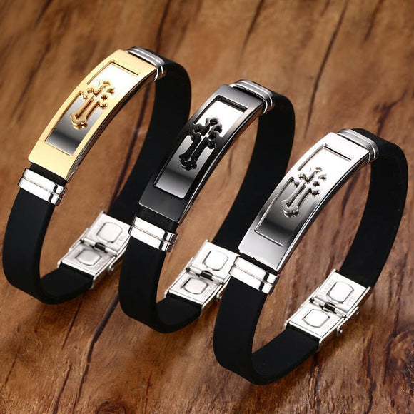 8-inch Cross Cuff Bracelet for Men -- Four Styles to Choose From