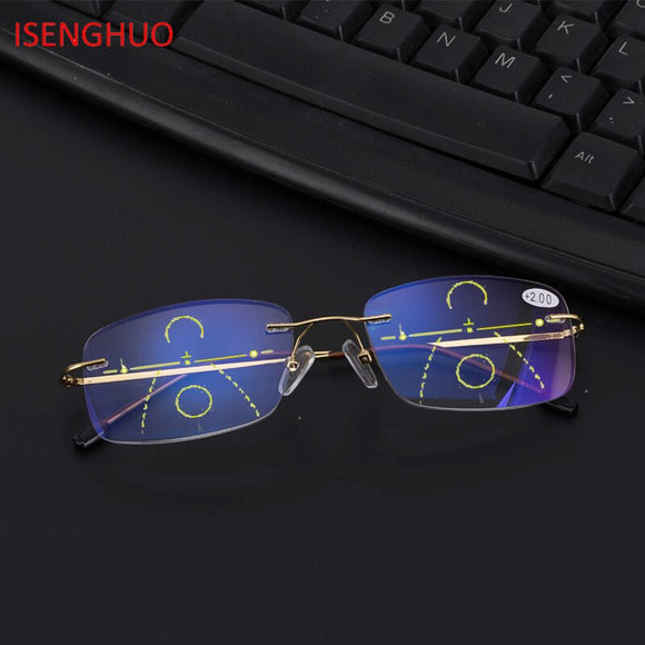 ISENGHUO Alloy Reading Glasses Women Computer Presbyopic Eyewear Multifocal Progressive Eyeglasses Anti Blue Light Glasses men