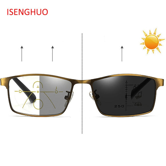 ISENGHUO Photochromic Reading Glasses Men Glasses Progressive Multifocal Glasses Frame Women Near Far Sight Diopter Eyewear