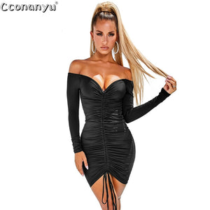Ladies sexy drawstring dress Autumn Winter black  White Slash Neck short dresses long Sleeve Solid Mini Club Dress vestidos