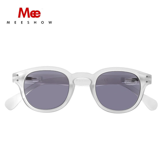 Meeshow Sunglasses Reading Glasses Transparent Men Women Round Glasses With Diopter UV400 Sun Reader French Presbyopia 1513