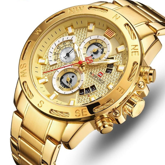 NAVIFORCE Luxury Brand Mens Sport Watches Gold Full Steel Quartz Watch Men Date Week Waterproof Military Clock Relogio Masculino