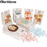 OurWarm 24pcs Jungle Safari Paper Gift Bags Candy Bag Birthday Party Baby Shower Packing Bag Woodland Birthday Party Supplies