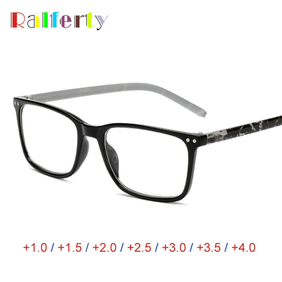 Ralferty Square Reading Glasses Women Men Diopter Medical Presbyopic Eyeglass Printed +1.0 +1.5 +2.0 +2.5 +3.0 +3.5 +4.0 A6906