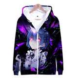 Re Zero Hoodie Hooded Jacket Zipper Coat Sweatshirt for Men Women Kid Girl Clothing Clothes Rem and Ram Japanese Anime