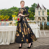 S~4XL Maxi dubai Muslim Abaya Dress for Women Long Sleeve New Autumn Winter Floral Jacquard Dress Fashion clothes Fall Plus size
