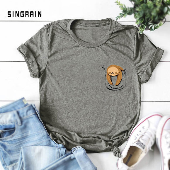 SINGRAIN 100% Cotton S-5XL Casual Summer Women Print T-shirt Lazy Sloth Cartoon crop t-shirts funny oversized basic Tees Tops