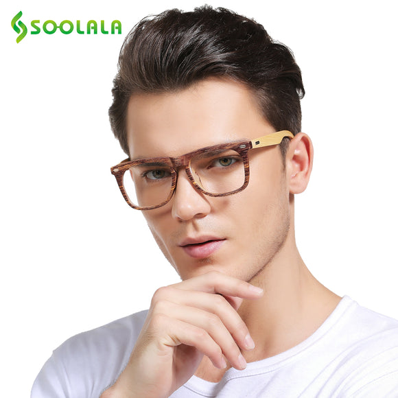 SOOLALA Oversized Wood Bamboo Frame Mens Reading Glasses Full Rimmed Ladies Presbyopia Reading Glass Eyeglasses +0.5 1.5 to 4.0