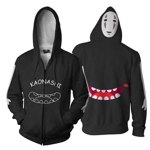 Spirited Away No Face Ghost Kaonashi Hoodies Fashion Zipper Sweatshirt Anime 3d Casual Hooded Tracksuit Coat Spring Autumn
