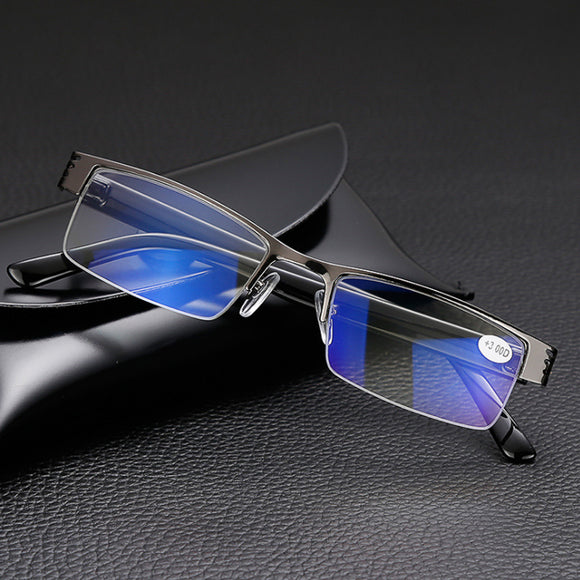 Titanium Alloy Mens Reading Glasses Presbyopia Men Half Frame Business Computer Eyeglasses Resin 1.0 1.5 2.0 2.5 3.0 3.5 4.0