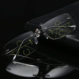 Titanium Rimless Progressive Multifocal Multifocus Multi focus Reading Glasses Transition Men Eyewear Hyperopia Presbyopia Reade