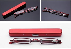 WEARKAPER Magnetic Titanium Frame Slim Reading Glasses Women Men Presbyopic Eyeglasses Mini Ultralight with Case 1.0-4.0