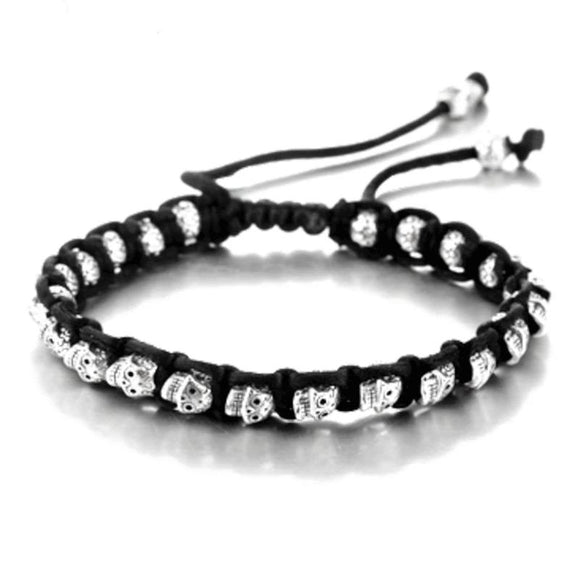 925 Sterling Silver Bracelet Skull -- Rope and Silver