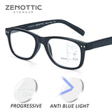 ZENOTTIC Progressive Multifocus Reading Glasses Men Hyperopia Square Glasses Anti Blue Ray Reading Glasses For Women New BT4204