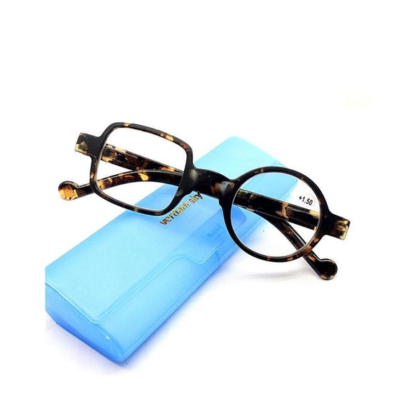 Zilead Retro Leopard Asymmetrical Round&Square Reading Glasses Women&Men Presbyopia Glasses Hyperopia Eyeglasses For Elder