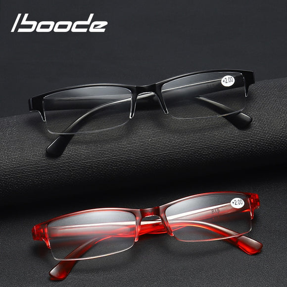 iboode HD Unisex Reading Glasses Men Women Elegant Half Frame Presbyopia Prescription Eyewear Presbyopic Glasses +1.0 2.5 3.5