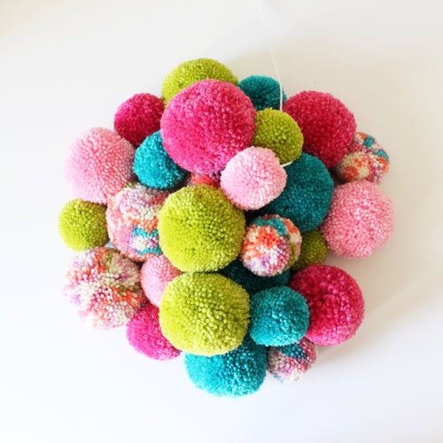 Pom Pom Garland, Yarn Pinks Teal Green Colors, Kids Party Decor and Room Decor