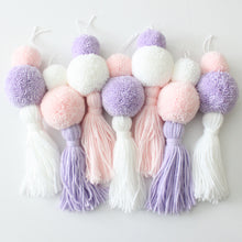 Load image into Gallery viewer, Pom Pom Tassel Garland, Soft Pastel Colors, Party and Room Decor