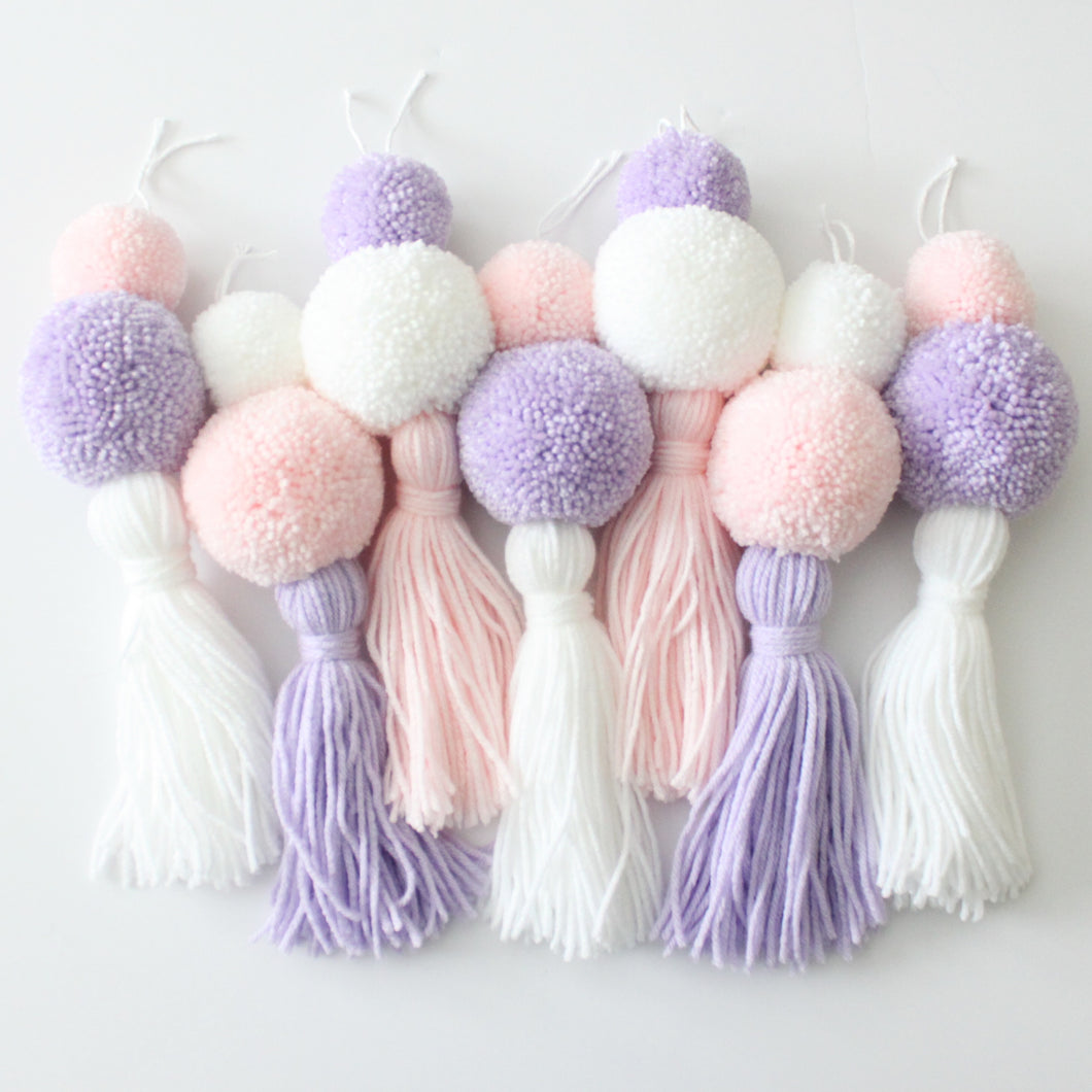 Pom Pom Tassel Garland, Soft Pastel Colors, Party and Room Decor