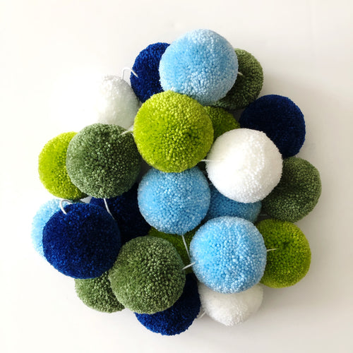 Pom Pom Garland, Large Yarn Pom Pom Blues Greens, Party and Room Decor