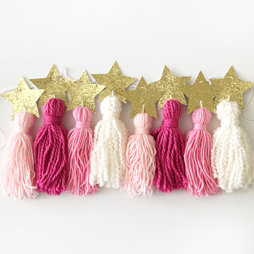 Tassel Garland, Twinkle Gold Star, Yarn Tassel Custom Colors, Kids Party Decor and Room Decor