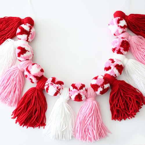 Pom Pom Tassel Garland, Valentines Banner, Party and Room Decor