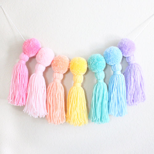 Pom Pom Tassel Garland, Pastel Rainbow Colors, Party and Room Decor