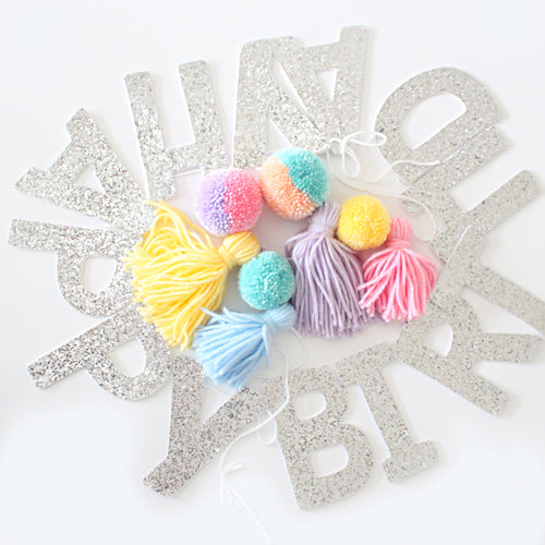 Happy Birthday Garland, Pom Poms & Tassels, Party Glitter Banner Decor