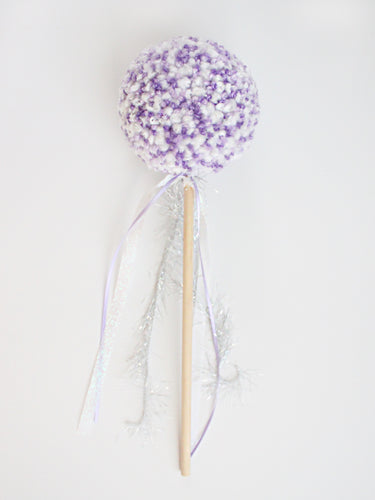 Pom Pom Wand, Purple White Colors, Party Playtime