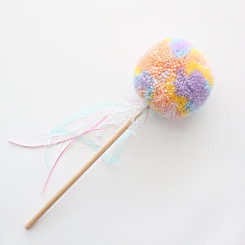 Pom Pom Wand, Pastel Rainbow Colors, Party Playtime