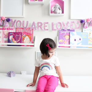You are Loved Garland, Pom Poms & Tassels, Party Glitter Banner Decor