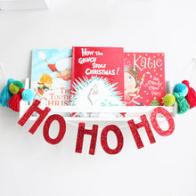 Load image into Gallery viewer, Ho Ho Ho Christmas Garland, Pom Poms & Tassels, Party Glitter Banner Decor