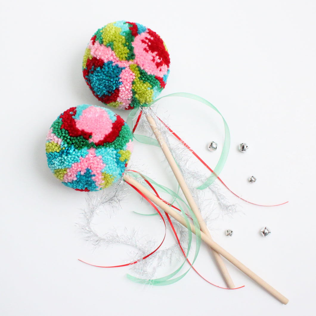 Pom Pom Wand, Christmas Multi Colors, Party Playtime