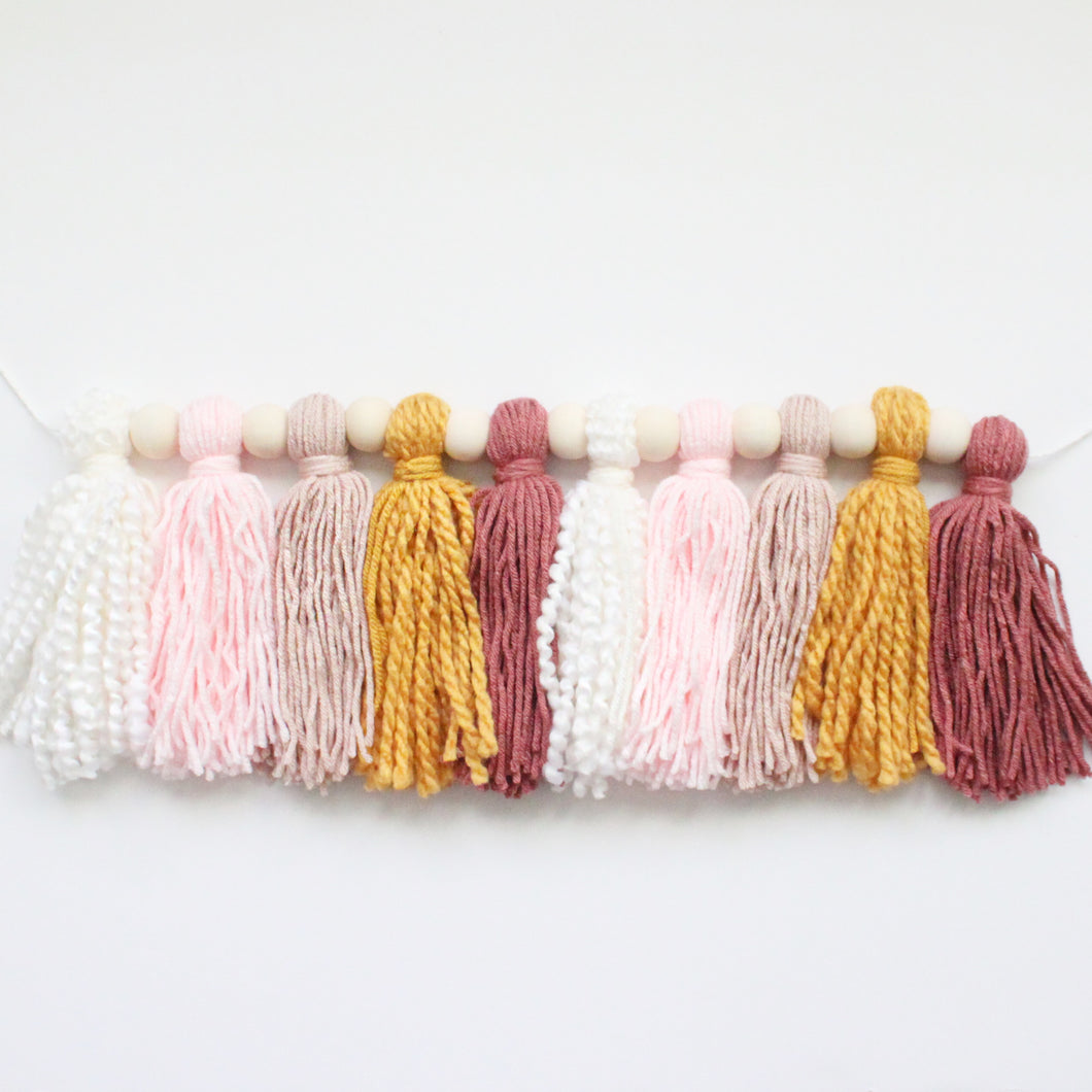 Tassel Beads Garland, Boho Rose Colors, Room Decor