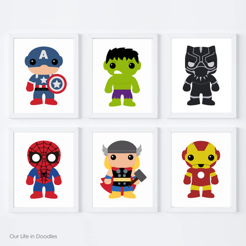 Super Heroes Art Prints, Characters inspired by Avengers, Printable Room Wall Art Decor