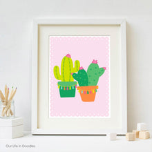 Load image into Gallery viewer, Cactus Art Print, Cactus & Tassels, Printable Kids Room Decor