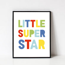 Load image into Gallery viewer, Little Super Star Art Print, Rainbow Playroom Decor, Digital Printable Wall Art