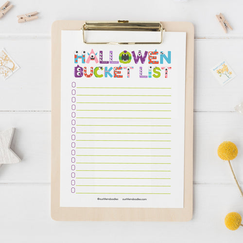 Halloween Art Print, Bucket List of Activities