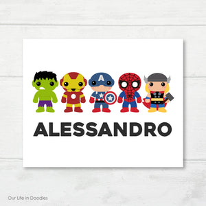 Super Heroes Art Print, Avengers Personalized Name, Printable Kids Wall Art Room Decor