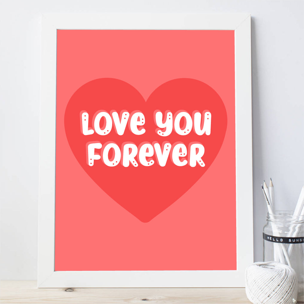 Valentines Art Print, Love You Forever Printable Playroom, Room Decor